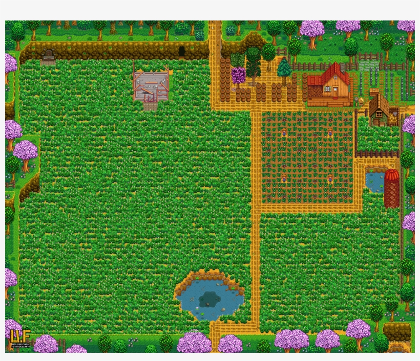 Farm Plan In Spring - Stardew Valley Multiplayer Cabins PNG Image