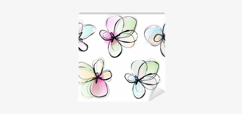 Abstract Watercolor Flowers Vector Set Wall Mural Dibujos Flores