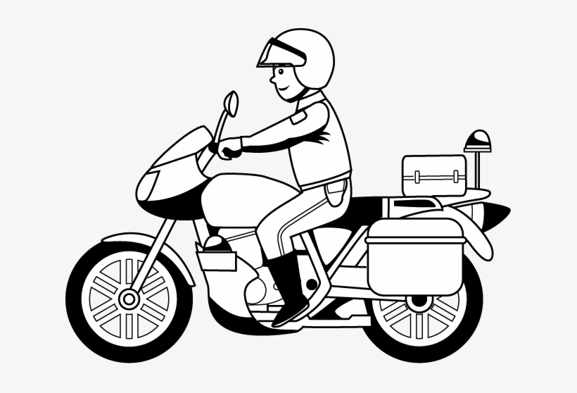 Motorcycle Black And White Police Motorcycle Clipart