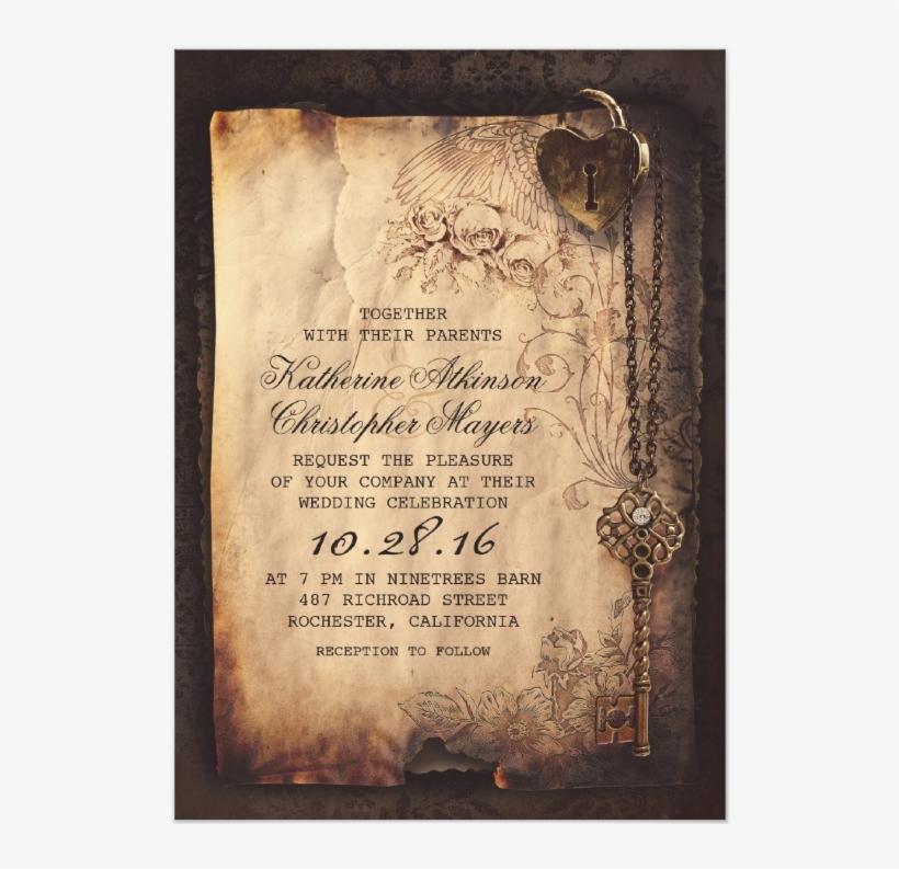 Skeleton Key Vintage Wedding Invitations From Zazzle
