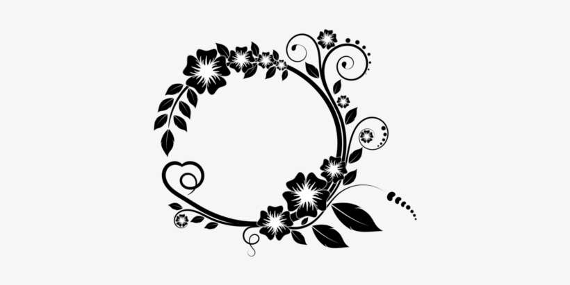 Picture Frames Borders And Frames Flower Floral Design Black And