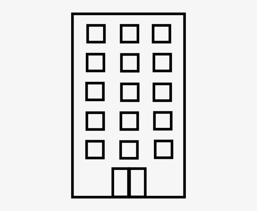 Building Clipart Black And White - Black And White Apartment Building Clip Art@seekpng.com