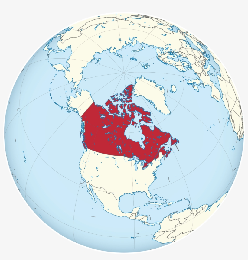 Canada In Globe Map A Map Of The Globe Features Canada In Red At The Center   Canada