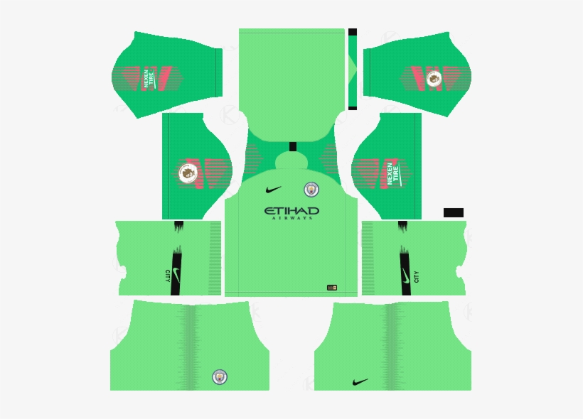 1456d49270a Manchester City Goalkeeper Away Kits 2018-19 - Dream League Soccer Kits  Barcelona 2018