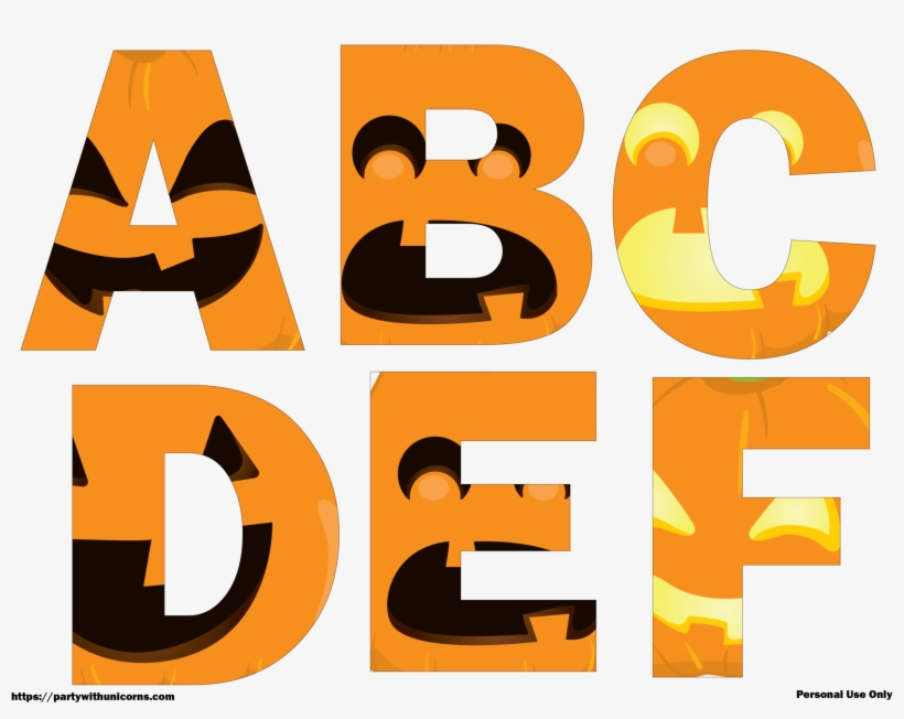 Halloween Letters Printable Jack O Lantern Faces Party Png Image