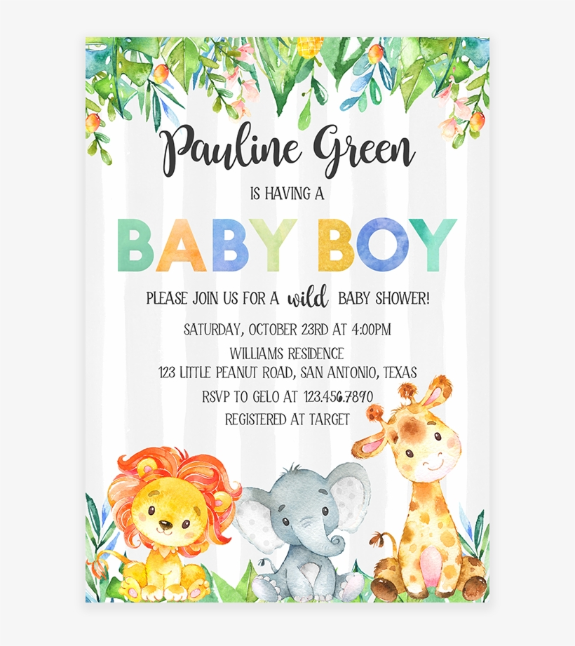 Safari Jungle Elephant Lion Giraffe Baby Shower Invitation Png Baby Shower Invitation Png Image Transparent Png Free Download On Seekpng Almost files can be used for commercial. safari jungle elephant lion giraffe