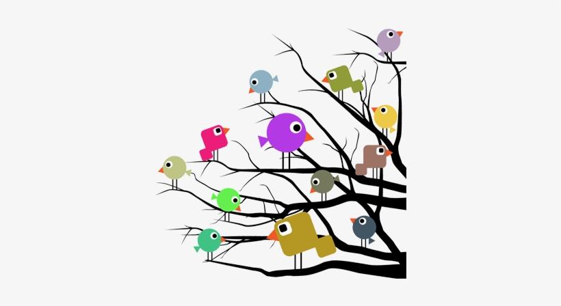 Vinilo Infantil Pájaros Color Ramas árbol Pajaros En Un Arbol