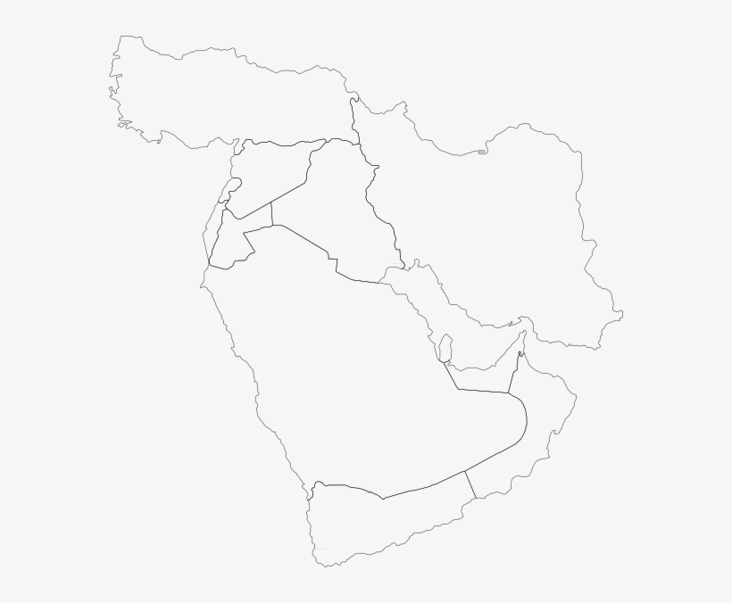 Middle East Map Clip Art - Gcc Countries Outline Map PNG