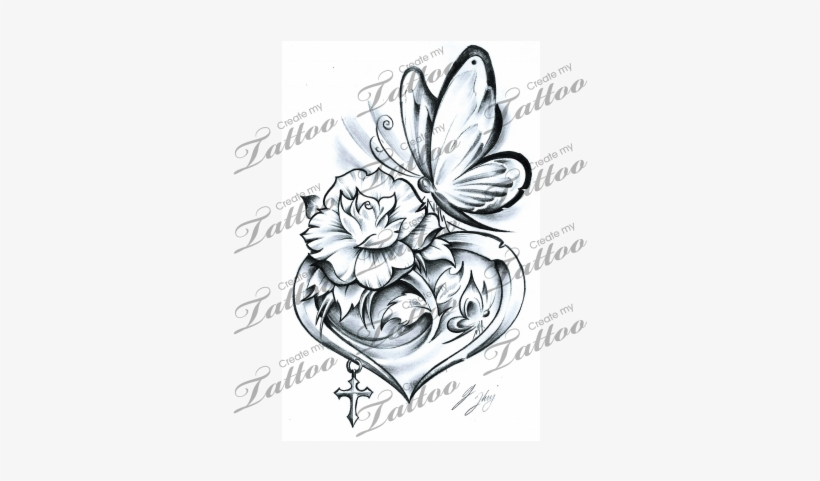5ce8a3bf4 Rose Tattoo Clipart Butterfly - Tattoo Rose With Butterfly, transparent png  download