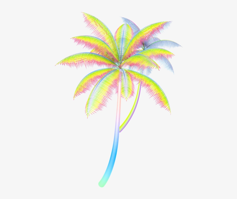 Vaporwave tropical. Palm trees png banner