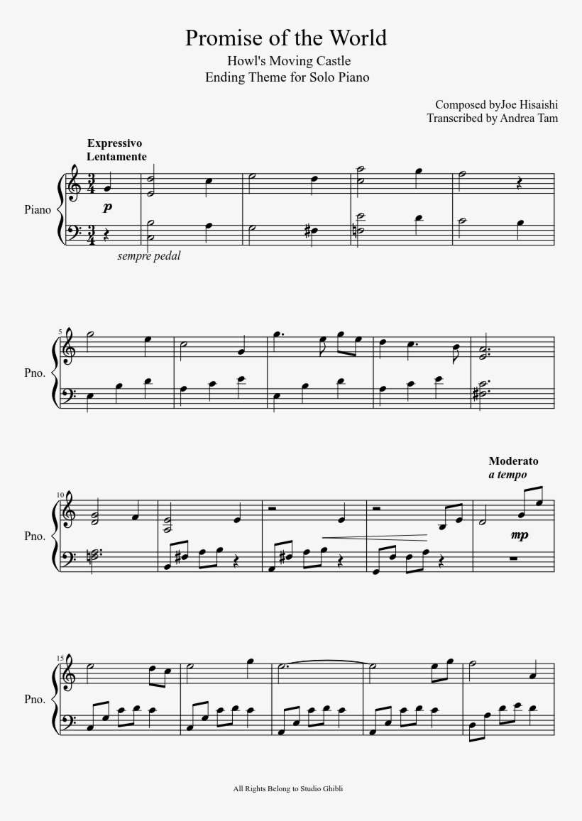 Ending Theme Of Howl S Moving Castle For Piano Wanna Be Like You Sheet Music Png Image Transparent Png Free Download On Seekpng