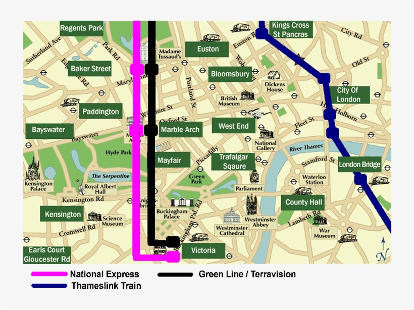 Central London Districts Map.Central London Public Transport Termini Map Districts Of London