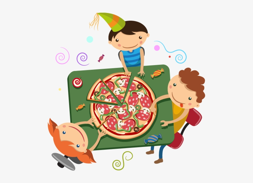 Online Pizza Payment Friends Eating Pizza Cartoon Png Image