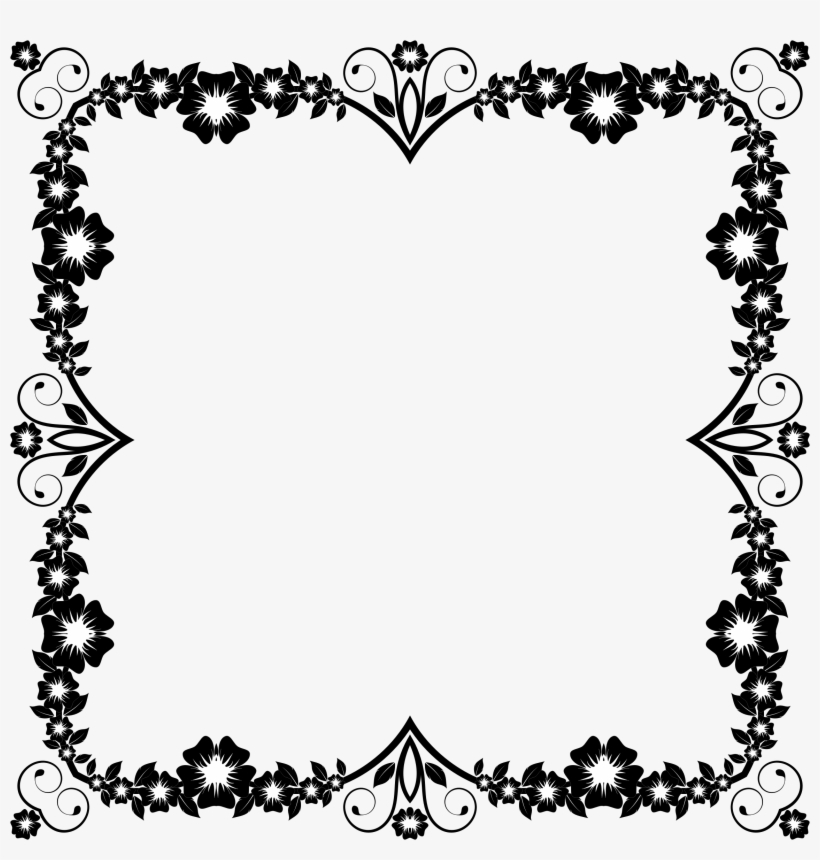 Flower Frame Extrapolated 2 Clip Art Free Border Design Black And