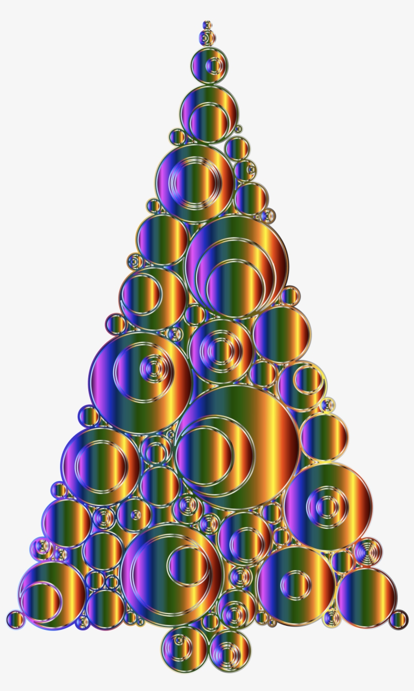 Clipart Colorful Abstract Circles Christmas Tree Variation