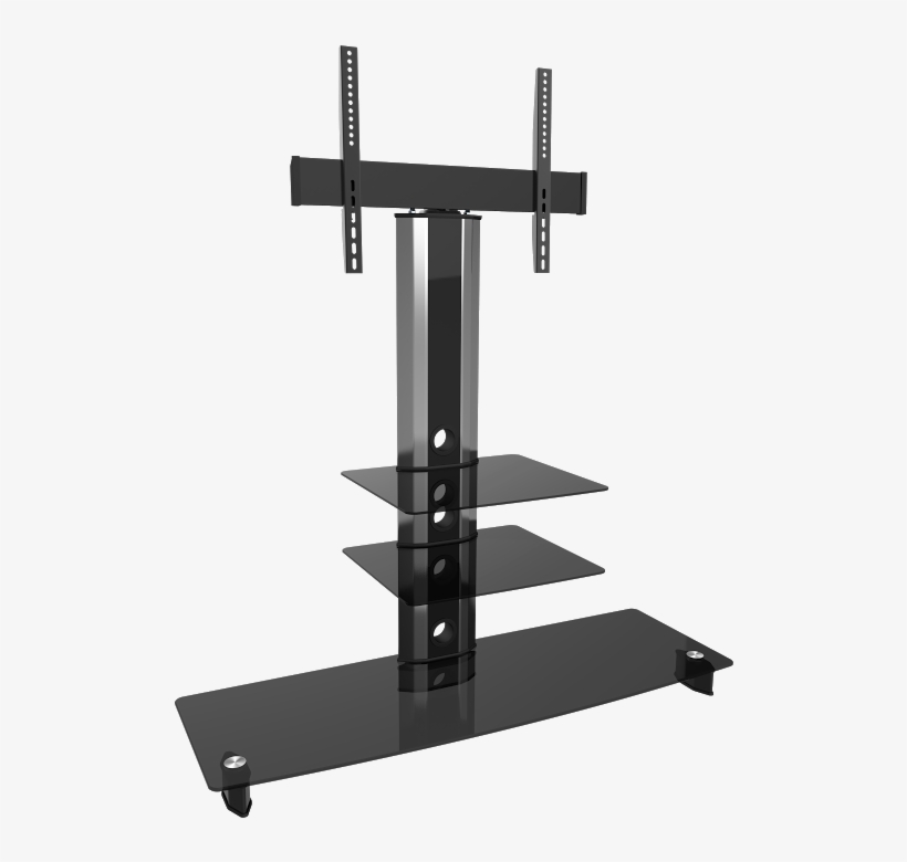 Goldine Silver Black Glass Tv Stand 55 Inch Shelf Png Image