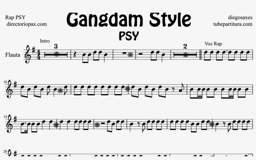 Gangnam Style By Rap Psy Sheet Music For Flute And - Gangnam