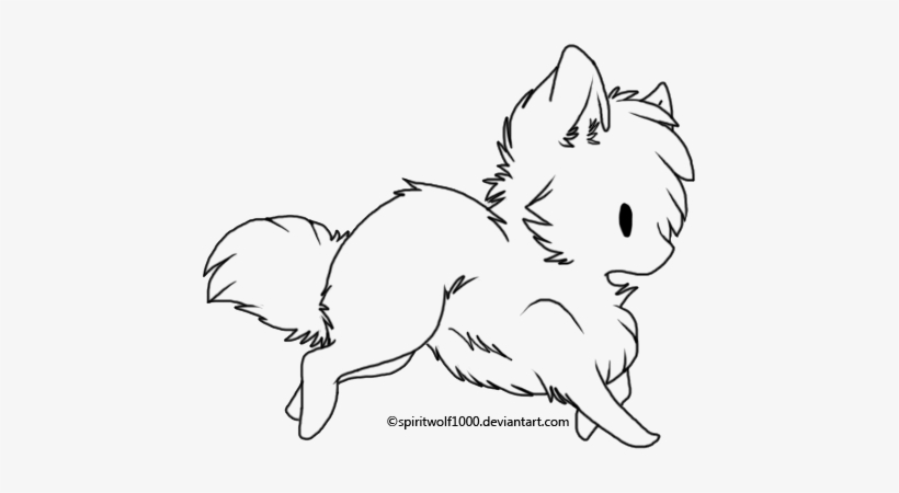 Chibi Wolf Lineart By Spiritwolf1000 On Deviantart Chibi Wolf Coloring Pages Png Image Transparent Png Free Download On Seekpng