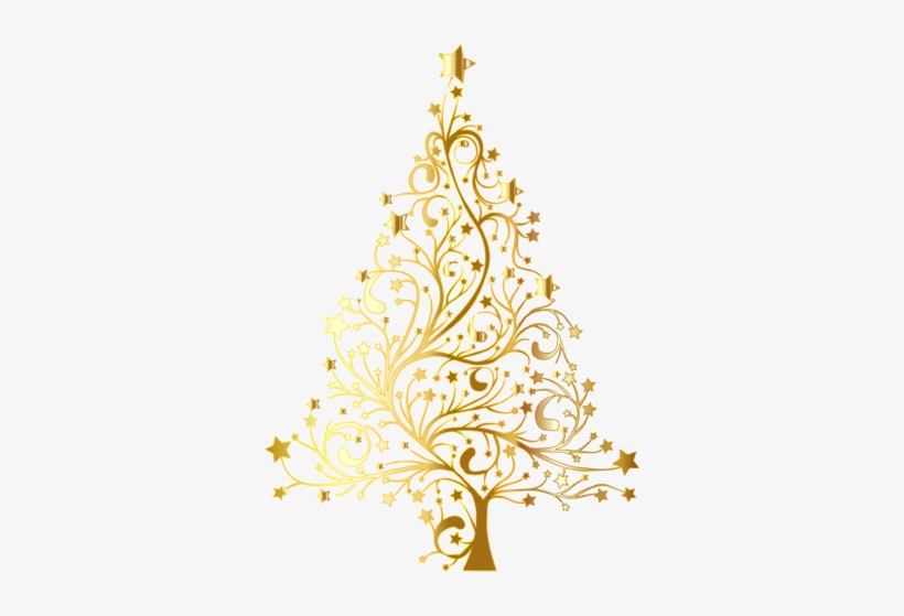 Starry Christmas Tree Gold No Background Gold Christmas Tree