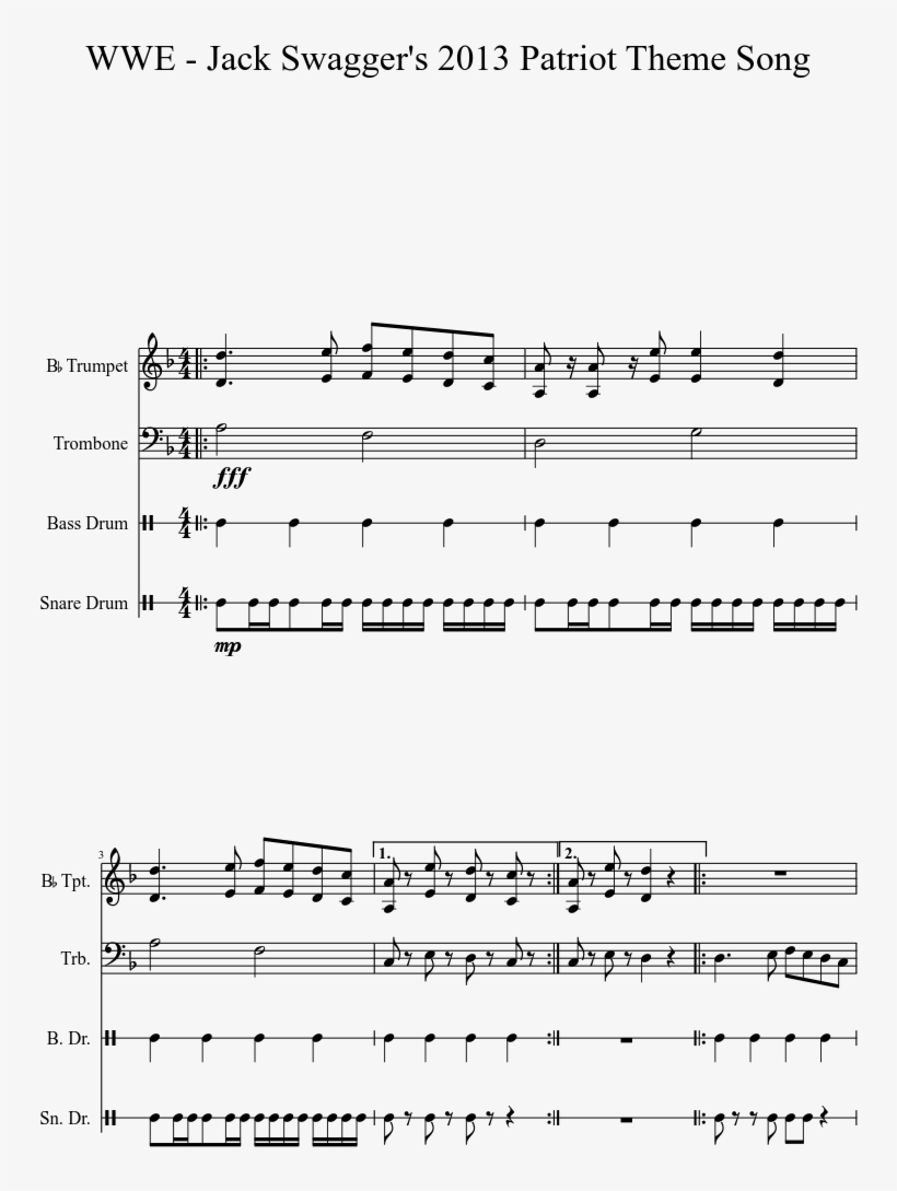 Jack Swagger's 2013 Patriot Theme Song Sheet Music - Wwe