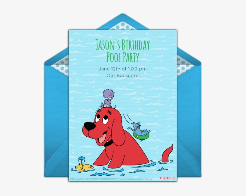 Clifford Pool Party Online Invitation Dog Pool Party