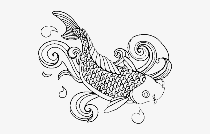 Koi Fish Drawing Outline At Getdrawingscom Free - Colouring Page Fish  Coloring PNG Image Transparent PNG Free Download On SeekPNG