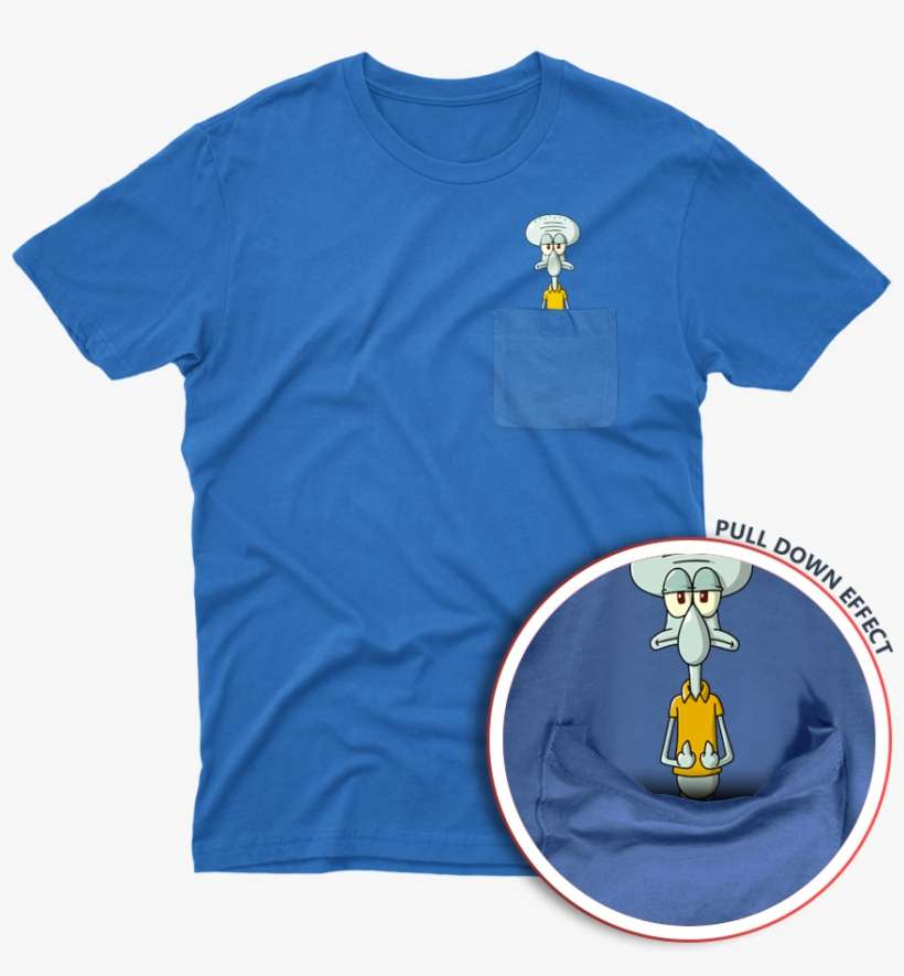 Squidward From Spongebob Squarepants Middle Finger - Deadpool Pocket T Shirt@seekpng.com