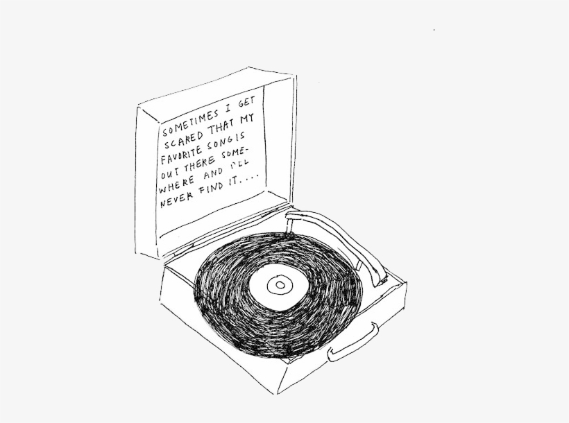 Transparent Music Note Tumblr - Record Player Drawing PNG