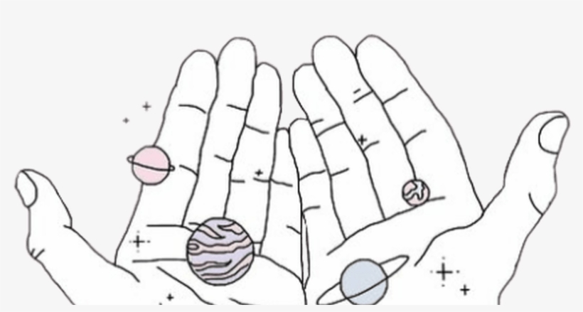 Galaxy Hands Tumblr Aesthetic Illustration Art Pastel Heartbreak