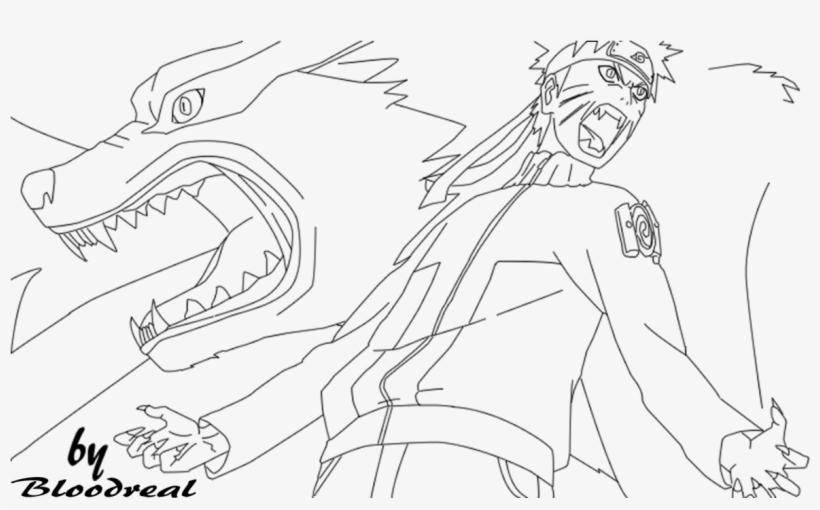 Naruto Ninetailed Jinchuuriki Lineart By Advance996 Naruto And Kurama Coloring Pages Png Image Transparent Png Free Download On Seekpng