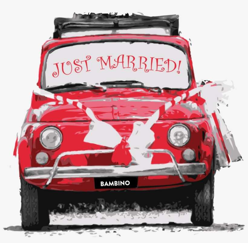 Mondo Nougat Wedding Car - Just Married Sign Red Car PNG