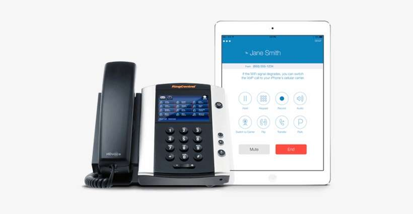 Phone With Ipad Showing Ringcentral App - Voip Phone PNG