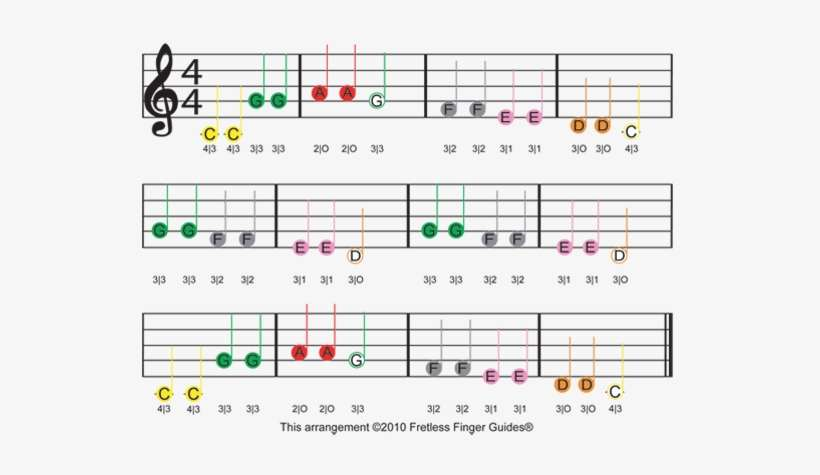 Color Coded Free Violin Sheet Music For Twinkle Twinkle