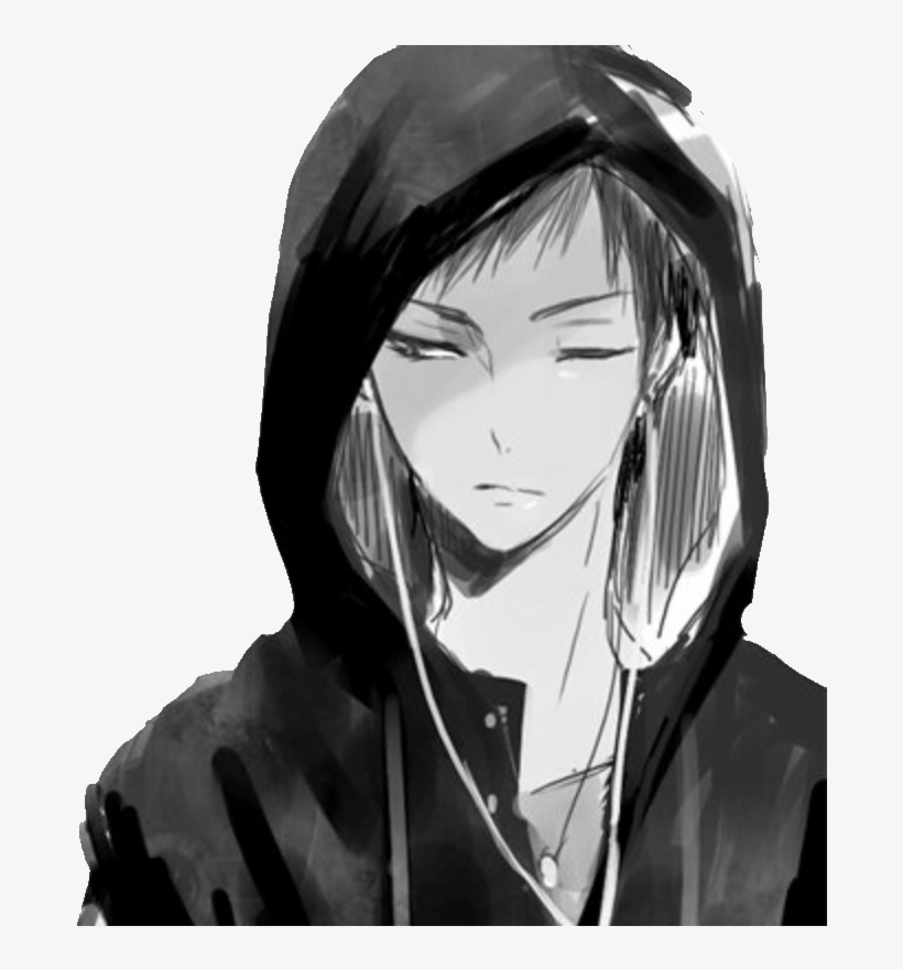 Graphic Library Anime Boy Png Anime Boy Black And White Hoodie Png Image Transparent Png Free Download On Seekpng