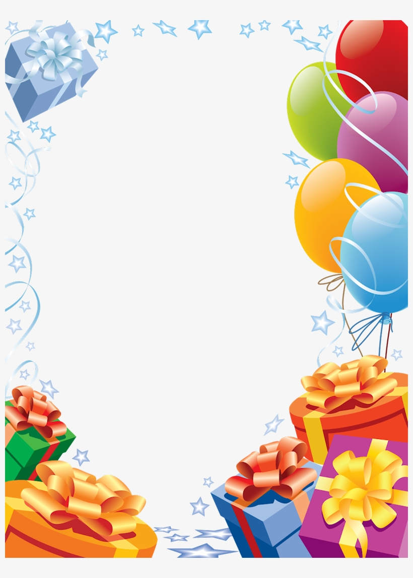 Happy Birthday Transparent Frame With Gifts And Balloons