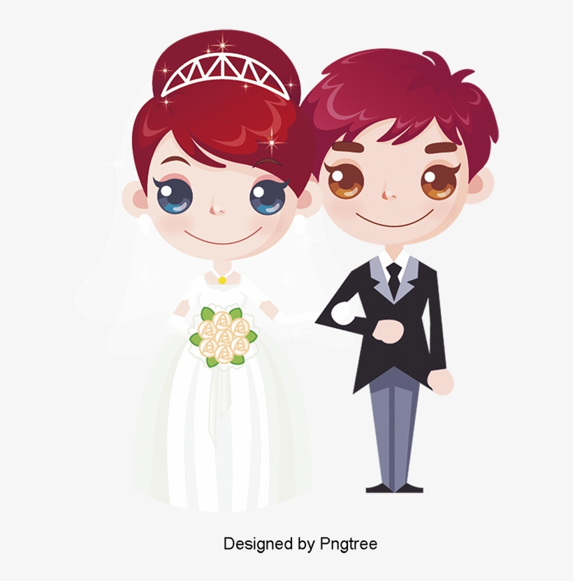 Creative Cartoon Wedding Couple Marriage Cartoon Couple Cartoon Wedding Invitations Png Png Image Transparent Png Free Download On Seekpng