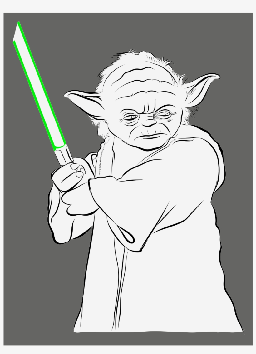 Drawing yoda outline picture stock drawing