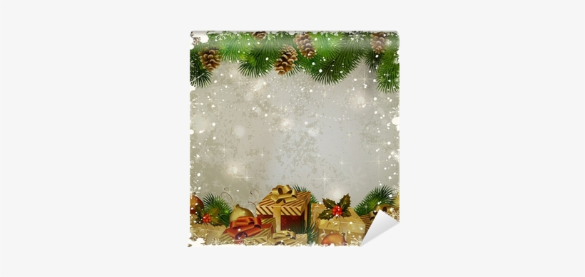 vintage christmas greeting card fir tree and gifts new year