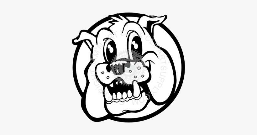 Vector Black And White Bulldog Face Clipart