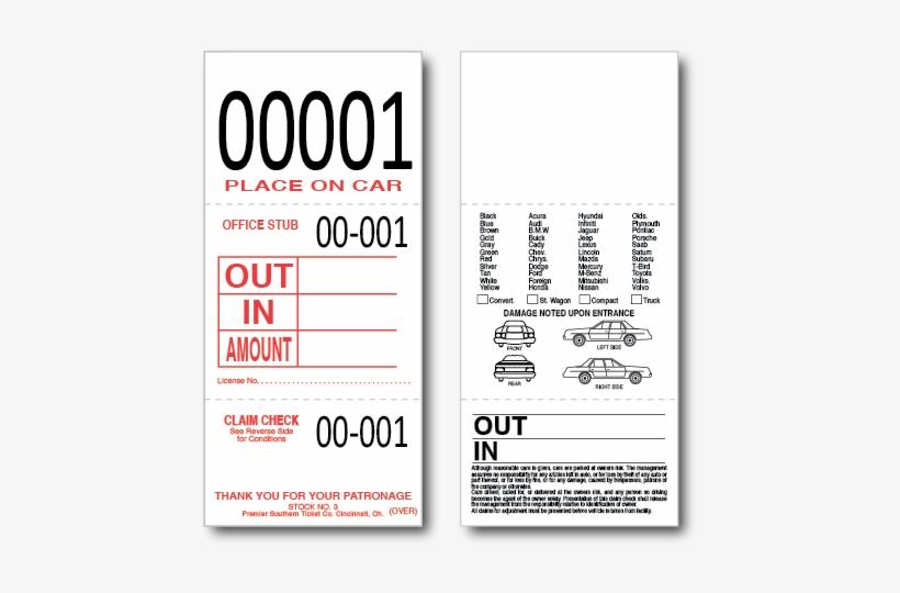 Parking Lot Tag, Valet Ticket - Valet Parking Tags - 3 Part
