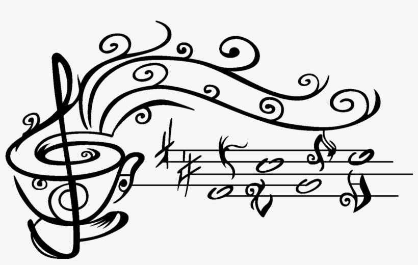 Vinilo Taza De Café Con Notas Musicales Searching, - Taza De Cafe ...
