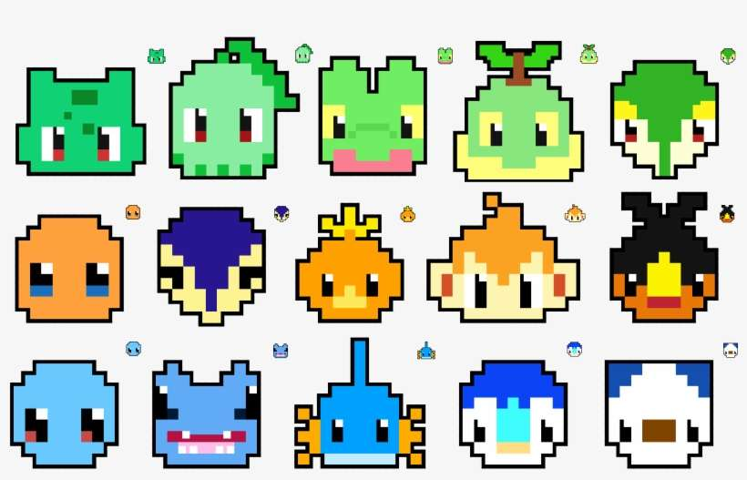Easy Pokemon Pixel Art 132166 Minecraft Pixel Art Pokemon Starters Png Image Transparent Png Free Download On Seekpng