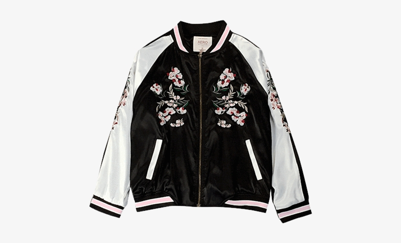 Itgirl Shop China Floral Embroidery Silk Bomber Jacket Silk Bomber