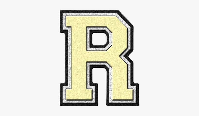 Presentation Alphabet Set - Gold Varsity Letter R PNG Image