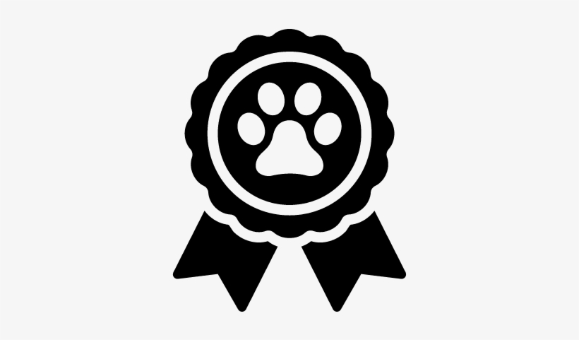 Prize Badge With Paw Print Vector - Paw Print Shape Vector Shapes