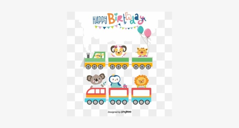 Vector Birthday Card Cartoon Animals Birthday Clipart