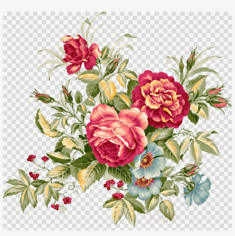 Vintage Flower Clipart Floral Design Flower Clip Art Vector Bouquet Of Flowers Png Image Transparent Png Free Download On Seekpng