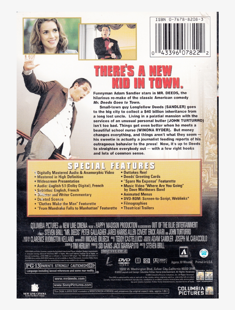 Mr Deeds - Mr  Deeds (dvd, 2002, Special Edition - Full