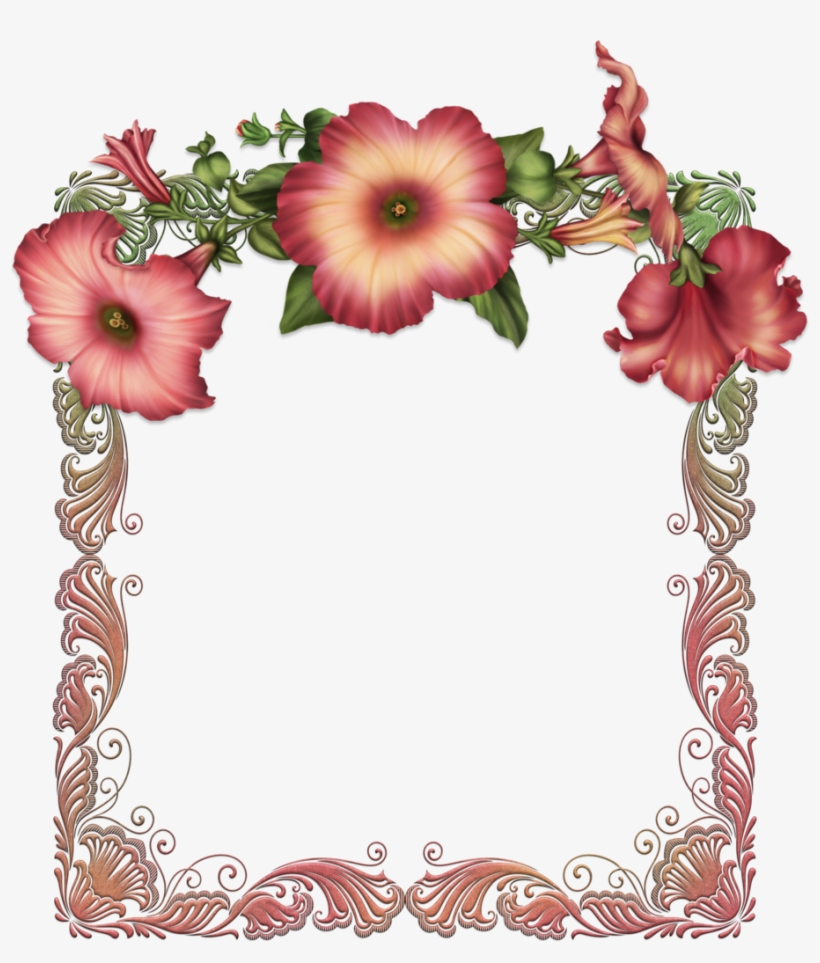 Red Transparent Frame With Red Flowers Printable Frames Happy