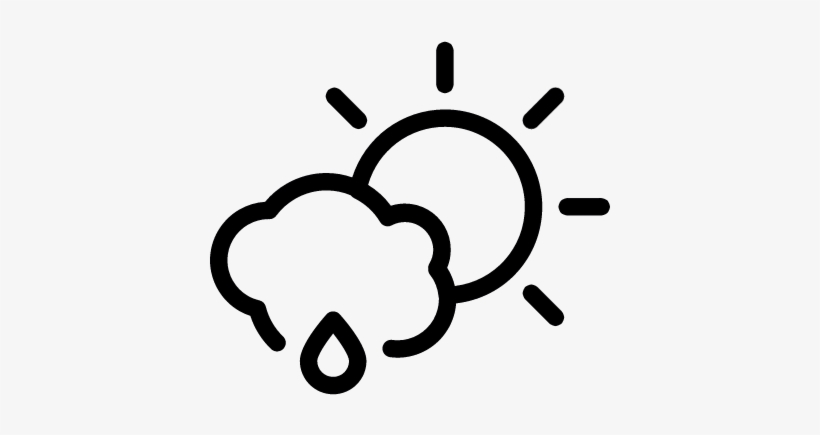 Cloud And Sun With Rain Droplet Outline Vector - Outline